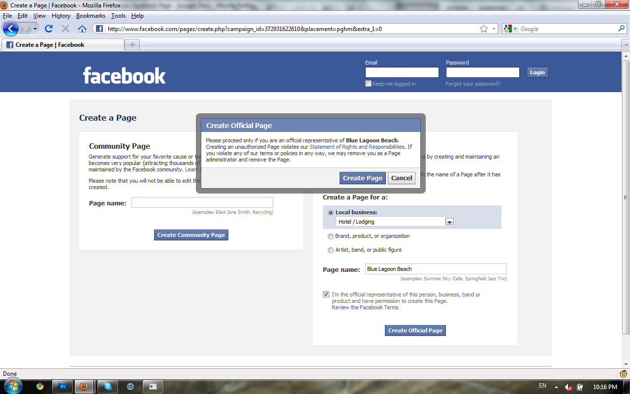how to set up a corporate facebook page